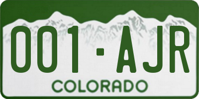 CO license plate 001AJR