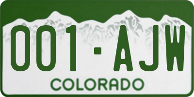 CO license plate 001AJW