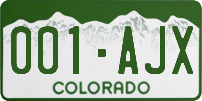 CO license plate 001AJX