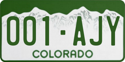 CO license plate 001AJY