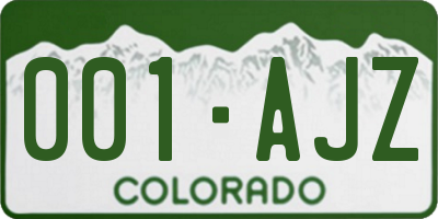 CO license plate 001AJZ