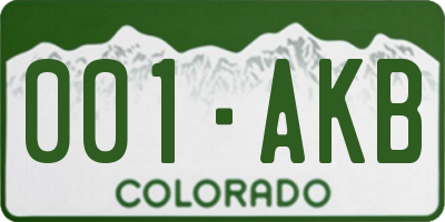 CO license plate 001AKB