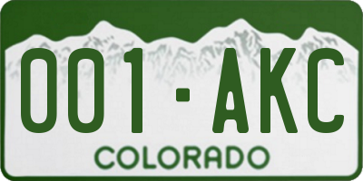 CO license plate 001AKC