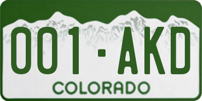 CO license plate 001AKD
