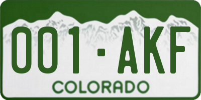 CO license plate 001AKF