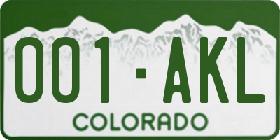 CO license plate 001AKL