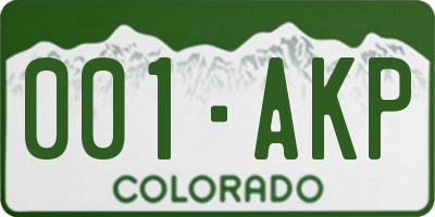 CO license plate 001AKP