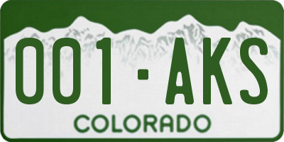 CO license plate 001AKS