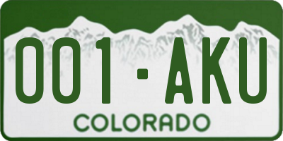 CO license plate 001AKU