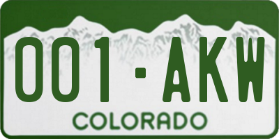 CO license plate 001AKW