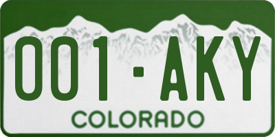 CO license plate 001AKY