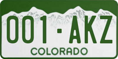 CO license plate 001AKZ