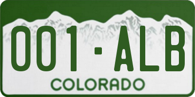 CO license plate 001ALB