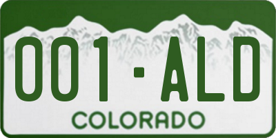 CO license plate 001ALD