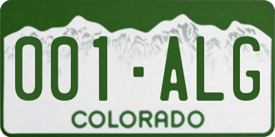 CO license plate 001ALG