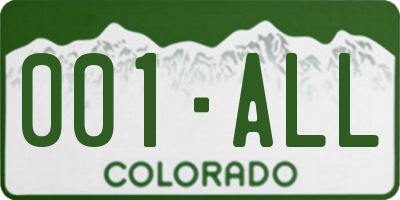 CO license plate 001ALL