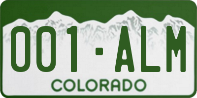 CO license plate 001ALM