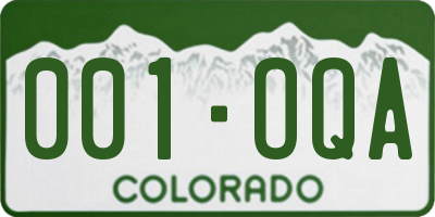 CO license plate 001OQA