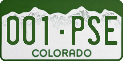 CO license plate 001PSE