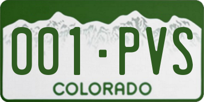 CO license plate 001PVS