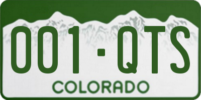CO license plate 001QTS