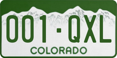 CO license plate 001QXL