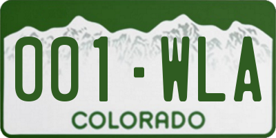 CO license plate 001WLA