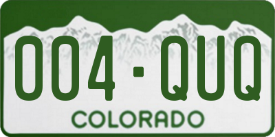CO license plate 004QUQ