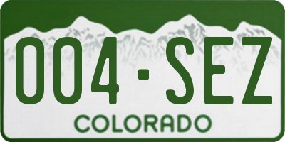 CO license plate 004SEZ