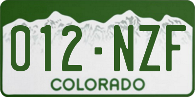 CO license plate 012NZF