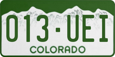 CO license plate 013UEI