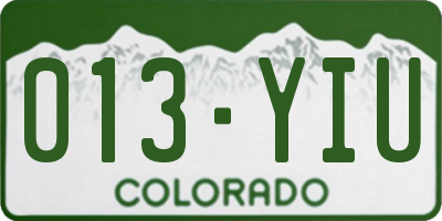 CO license plate 013YIU