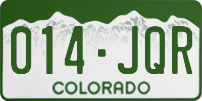 CO license plate 014JQR