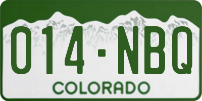 CO license plate 014NBQ