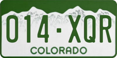 CO license plate 014XQR