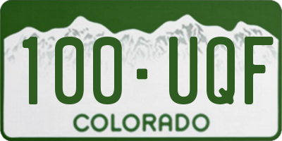 CO license plate 100UQF