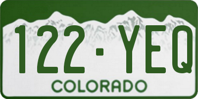 CO license plate 122YEQ