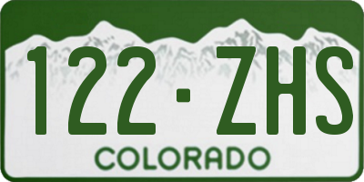 CO license plate 122ZHS