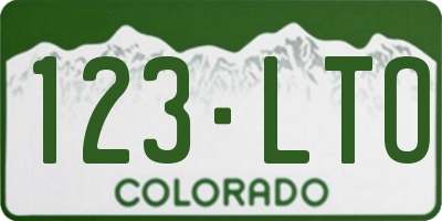CO license plate 123LTO