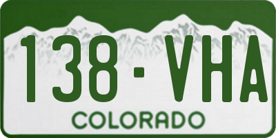 CO license plate 138VHA