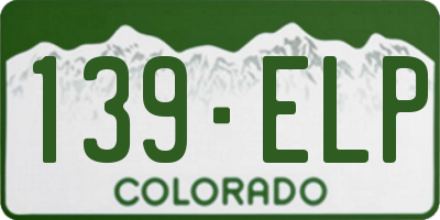 CO license plate 139ELP