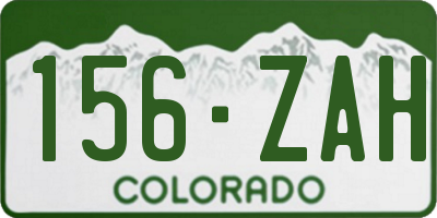 CO license plate 156ZAH