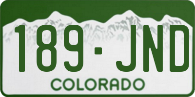 CO license plate 189JND