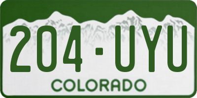 CO license plate 204UYU
