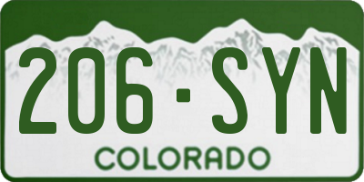 CO license plate 206SYN