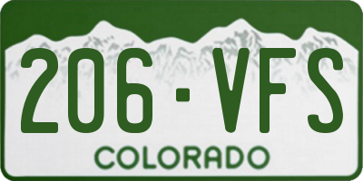 CO license plate 206VFS