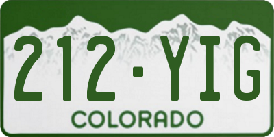 CO license plate 212YIG