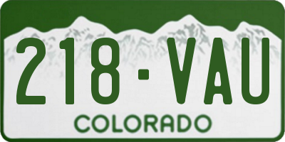 CO license plate 218VAU