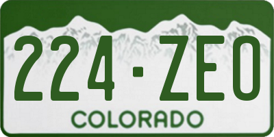 CO license plate 224ZEO