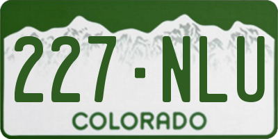 CO license plate 227NLU